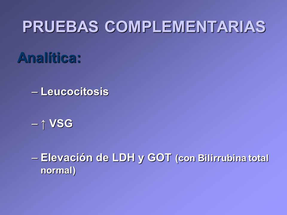 PRUEBAS COMPLEMENTARIAS Analítica: –Leucocitosis – VSG –Elevación de LDH y GOT (con Bilirrubina total normal)