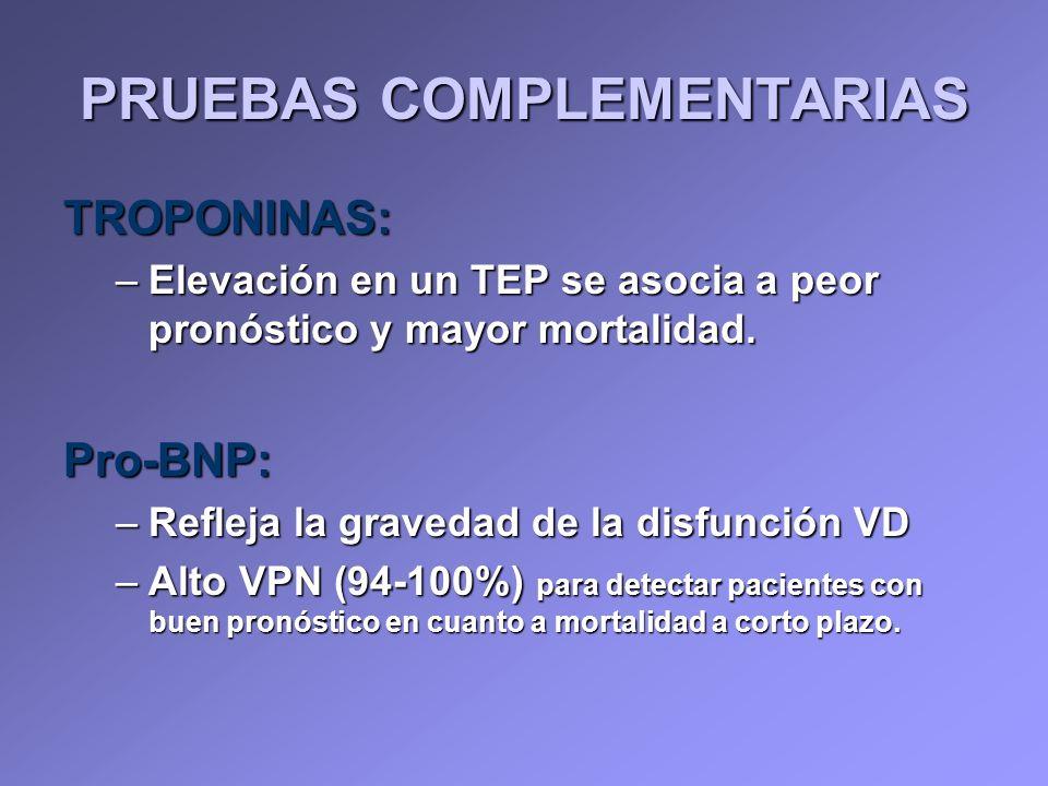 TROPONINAS: –Elevación en un TEP se asocia a peor pronóstico y mayor mortalidad. Pro-BNP: –Refleja la gravedad de la disfunción VD –Alto VPN (94-100%)