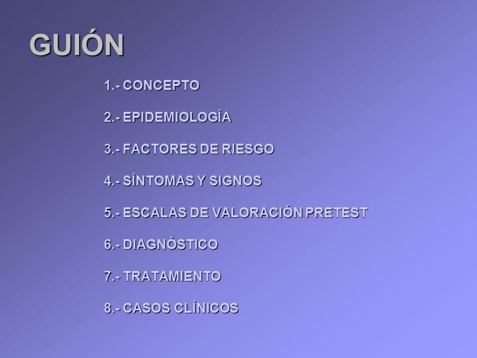GUIÓN 1.- CONCEPTO 2.- EPIDEMIOLOGÍA 3.- FACTORES DE RIESGO 4.- SÍNTOMAS Y SIGNOS 5.- ESCALAS DE VALORACIÓN PRETEST 6.- DIAGNÓSTICO 7.- TRATAMIENTO 8.