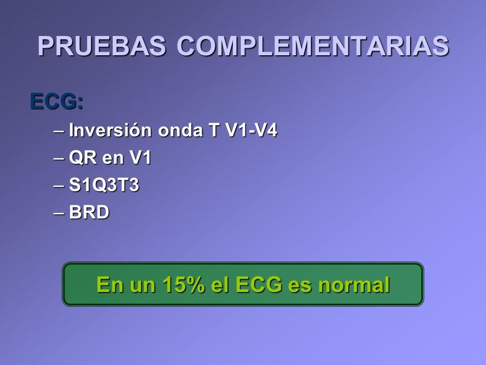 ECG: –Inversión onda T V1-V4 –QR en V1 –S1Q3T3 –BRD PRUEBAS COMPLEMENTARIAS En un 15% el ECG es normal