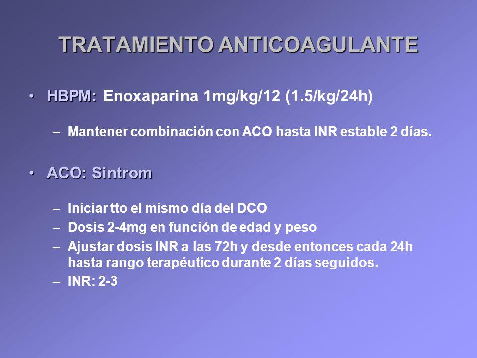 TRATAMIENTO ANTICOAGULANTE HBPM:HBPM: Enoxaparina 1mg/kg/12 (1.5/kg/24h) –Mantener combinación con ACO hasta INR estable 2 días. ACO: SintromACO: Sint