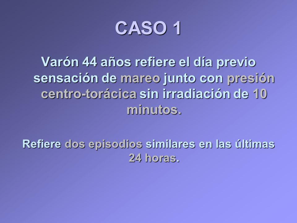 CASO 1 Varón 44 años refiere el día previo sensación de mareo junto con presión centro-torácica sin irradiación de 10 minutos. Refiere dos episodios s