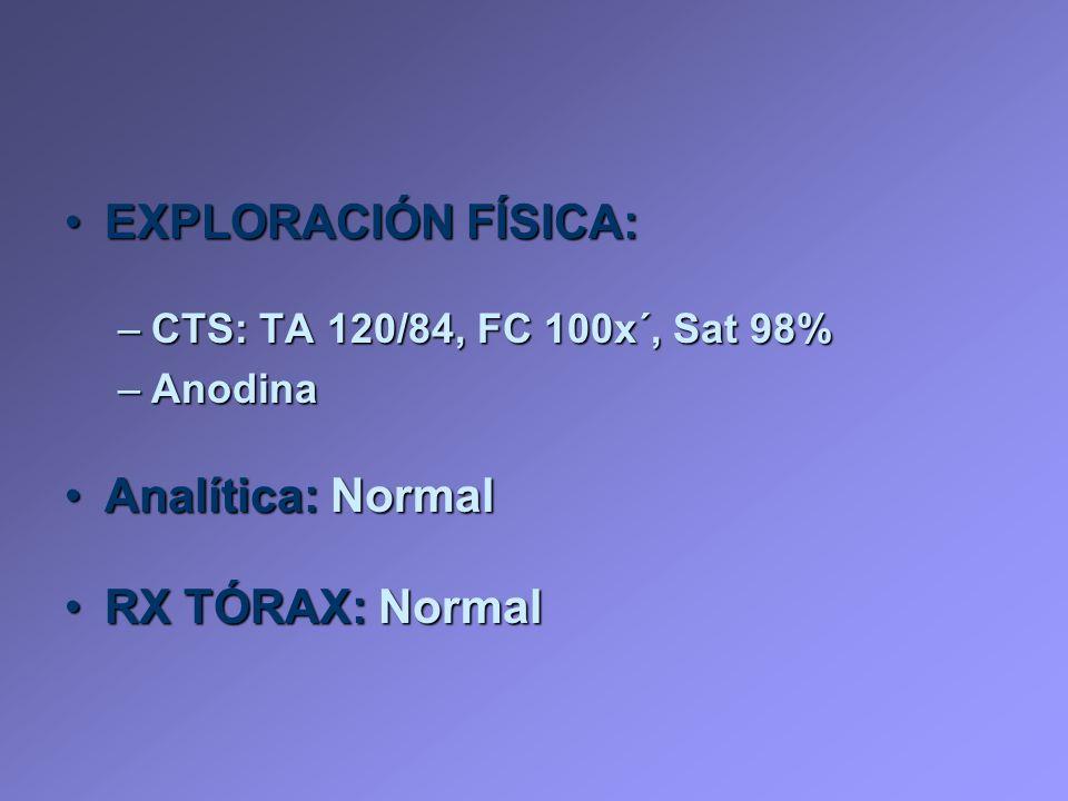 EXPLORACIÓN FÍSICA:EXPLORACIÓN FÍSICA: –CTS: TA 120/84, FC 100x´, Sat 98% –Anodina Analítica: NormalAnalítica: Normal RX TÓRAX: NormalRX TÓRAX: Normal