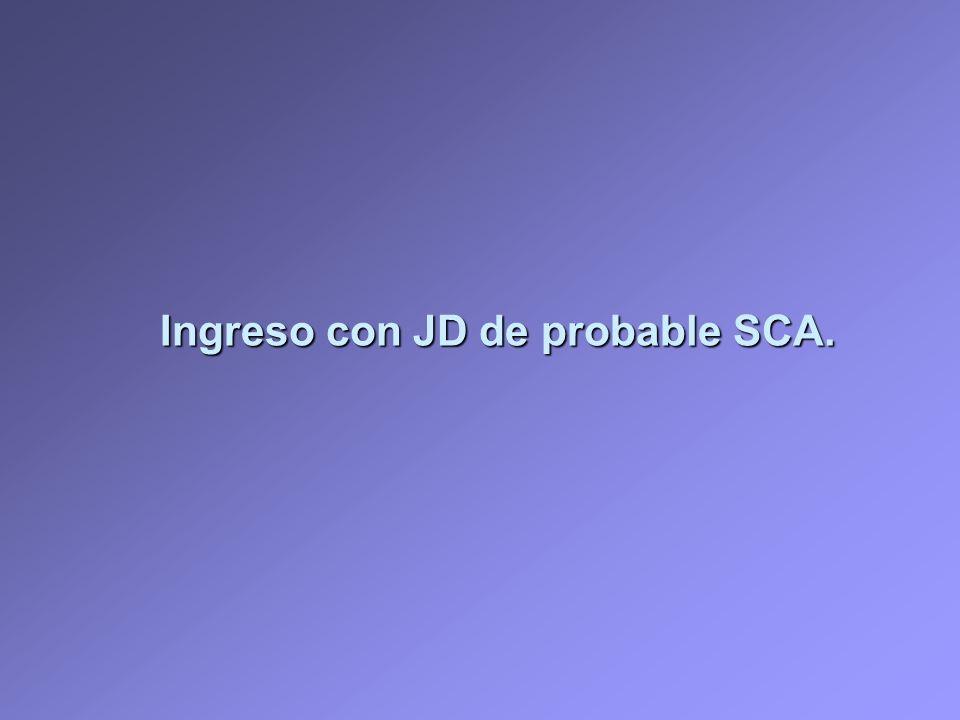 Ingreso con JD de probable SCA.