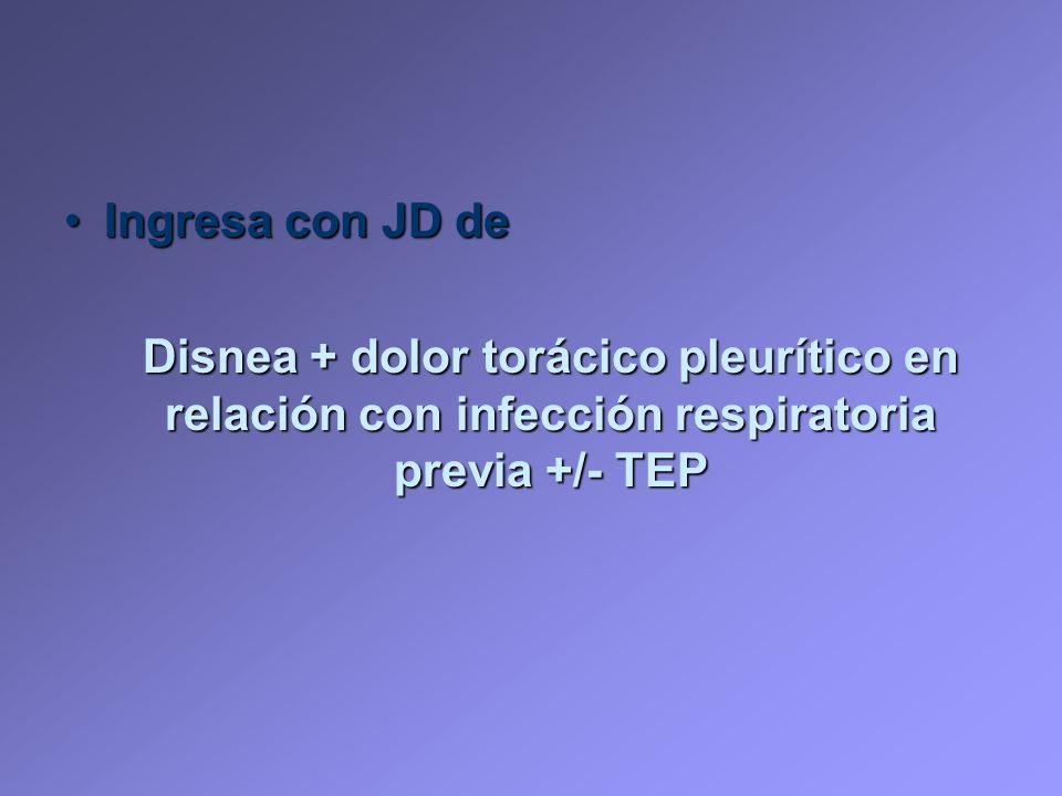 Ingresa con JD deIngresa con JD de Disnea + dolor torácico pleurítico en relación con infección respiratoria previa +/- TEP