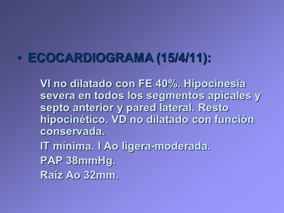 ECOCARDIOGRAMA (15/4/11):ECOCARDIOGRAMA (15/4/11): VI no dilatado con FE 40%. Hipocinesia severa en todos los segmentos apicales y septo anterior y pa