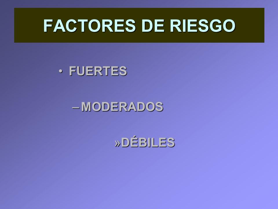 FACTORES DE RIESGO FUERTESFUERTES –MODERADOS »DÉBILES