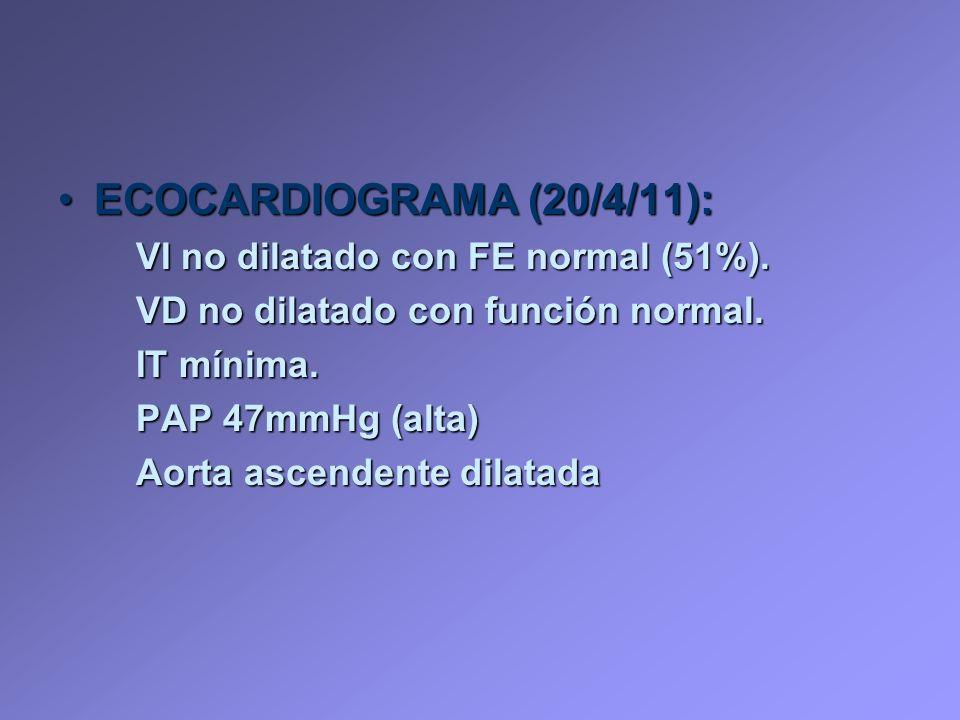 ECOCARDIOGRAMA (20/4/11):ECOCARDIOGRAMA (20/4/11): VI no dilatado con FE normal (51%). VD no dilatado con función normal. IT mínima. PAP 47mmHg (alta)