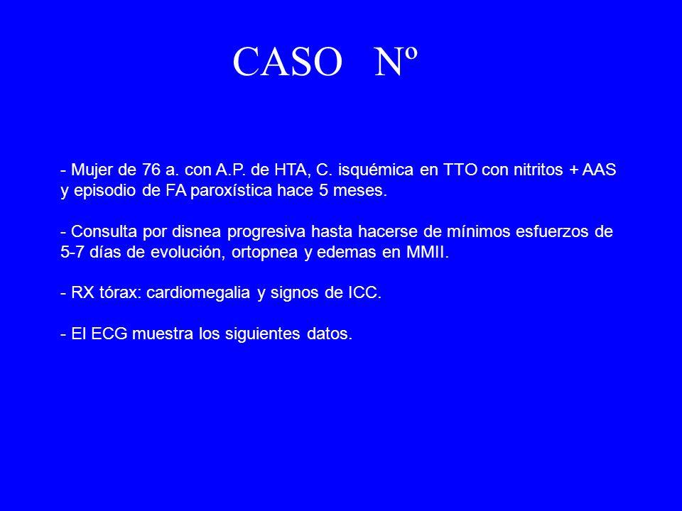 - Mujer de 76 a. con A.P. de HTA, C. isquémica en TTO con nitritos + AAS y episodio de FA paroxística hace 5 meses. - Consulta por disnea progresiva h