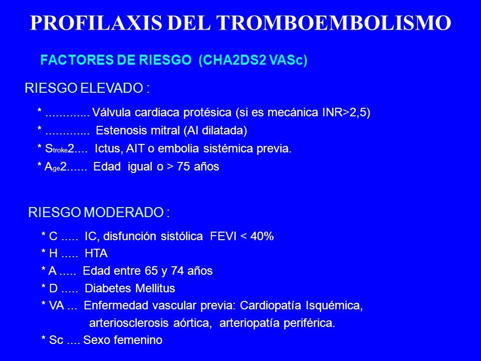 PROFILAXIS DEL TROMBOEMBOLISMO RIESGO ELEVADO : FACTORES DE RIESGO (CHA2DS2 VASc) *............. Válvula cardiaca protésica (si es mecánica INR>2,5) *