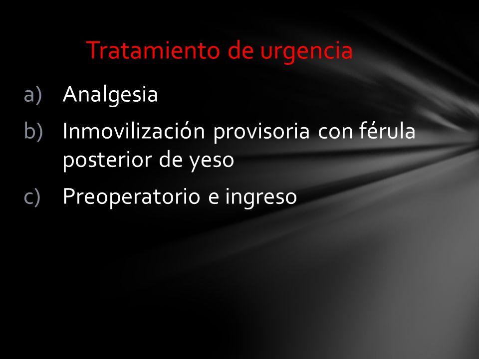 a)Analgesia b)Inmovilización provisoria con férula posterior de yeso c)Preoperatorio e ingreso Tratamiento de urgencia