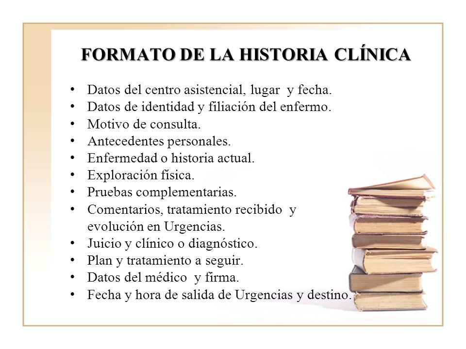 FORMATO DE LA HISTORIA CLÍNICA Datos del centro asistencial, lugar y fecha. Datos de identidad y filiación del enfermo. Motivo de consulta. Antecedent