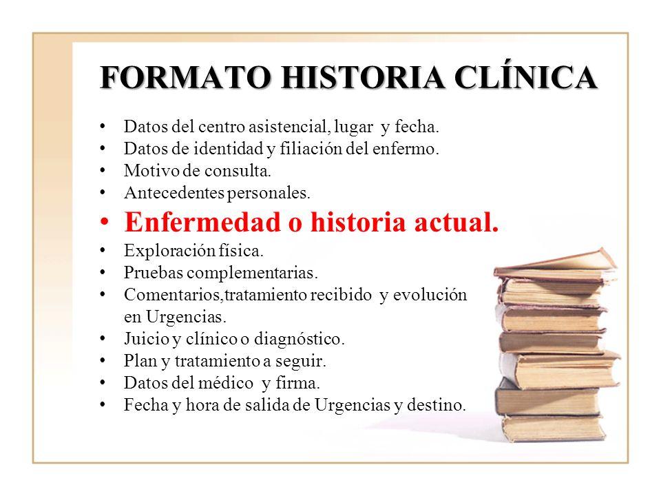 FORMATO HISTORIA CLÍNICA Datos del centro asistencial, lugar y fecha. Datos de identidad y filiación del enfermo. Motivo de consulta. Antecedentes per
