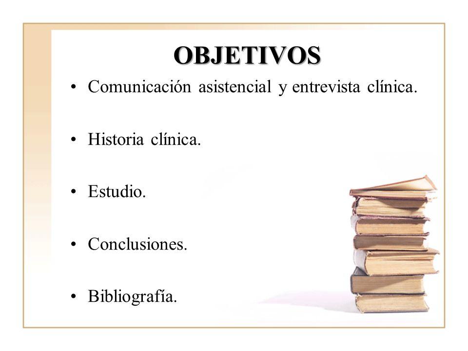OBJETIVOS Comunicación asistencial y entrevista clínica. Historia clínica. Estudio. Conclusiones. Bibliografía.