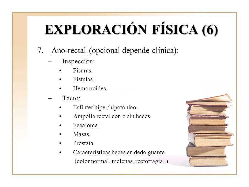 EXPLORACIÓN FÍSICA (6) 7.Ano-rectal (opcional depende clínica): –Inspección: Fisuras. Fístulas. Hemorroides. –Tacto: Esfínter hiper/hipotónico. Ampoll