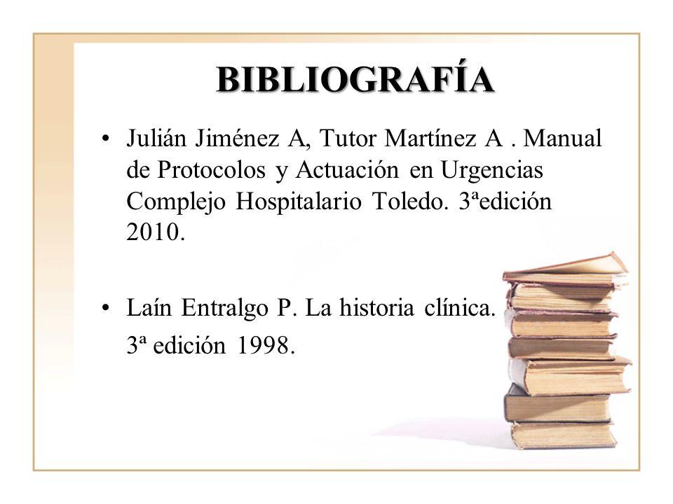 BIBLIOGRAFÍA Julián Jiménez A, Tutor Martínez A. Manual de Protocolos y Actuación en Urgencias Complejo Hospitalario Toledo. 3ªedición 2010. Laín Entr