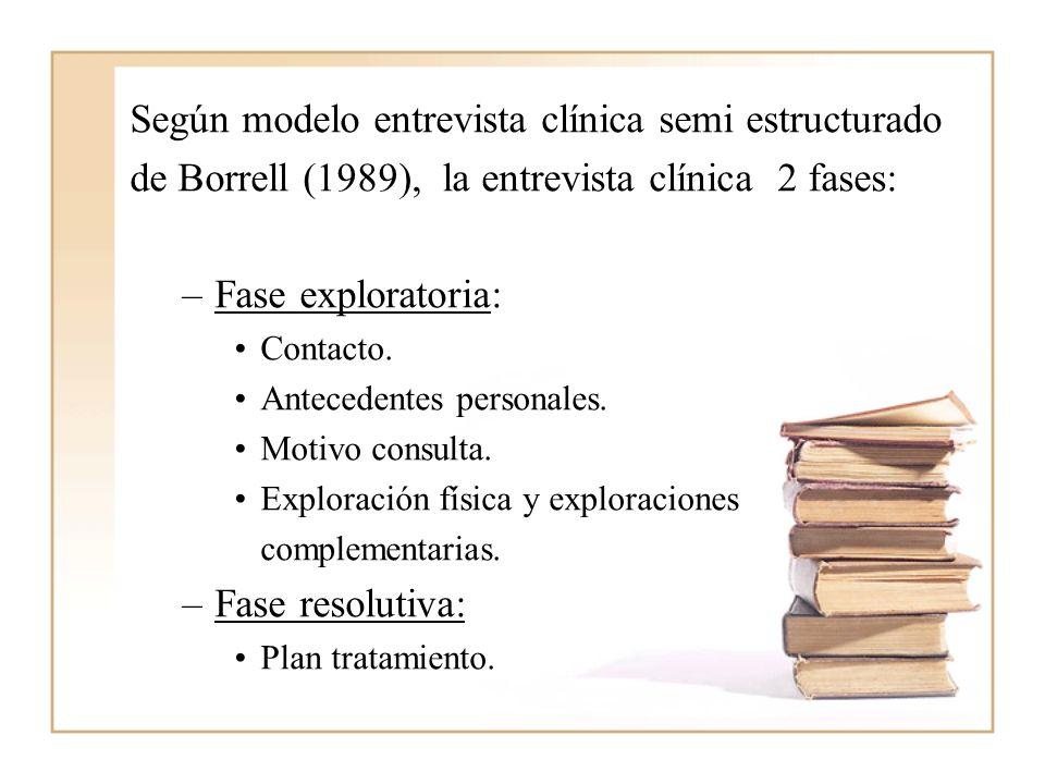 Según modelo entrevista clínica semi estructurado de Borrell (1989), la entrevista clínica 2 fases: –Fase exploratoria: Contacto. Antecedentes persona