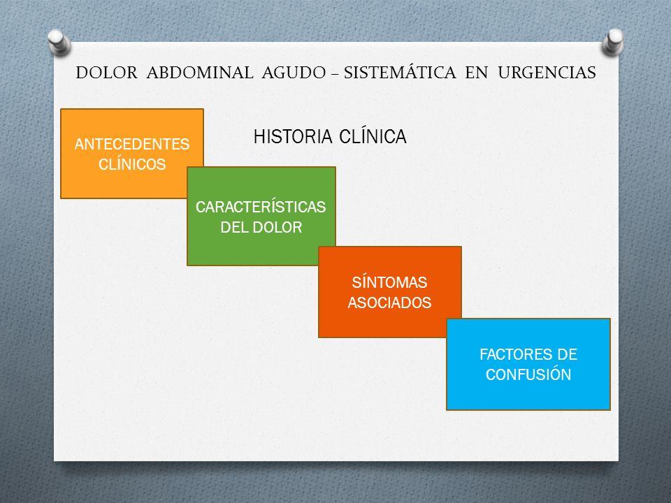 DOLOR ABDOMINAL AGUDO – SISTEMÁTICA EN URGENCIAS HISTORIA CLÍNICA ANTECEDENTES CLÍNICOS CARACTERÍSTICAS DEL DOLOR SÍNTOMAS ASOCIADOS FACTORES DE CONFU
