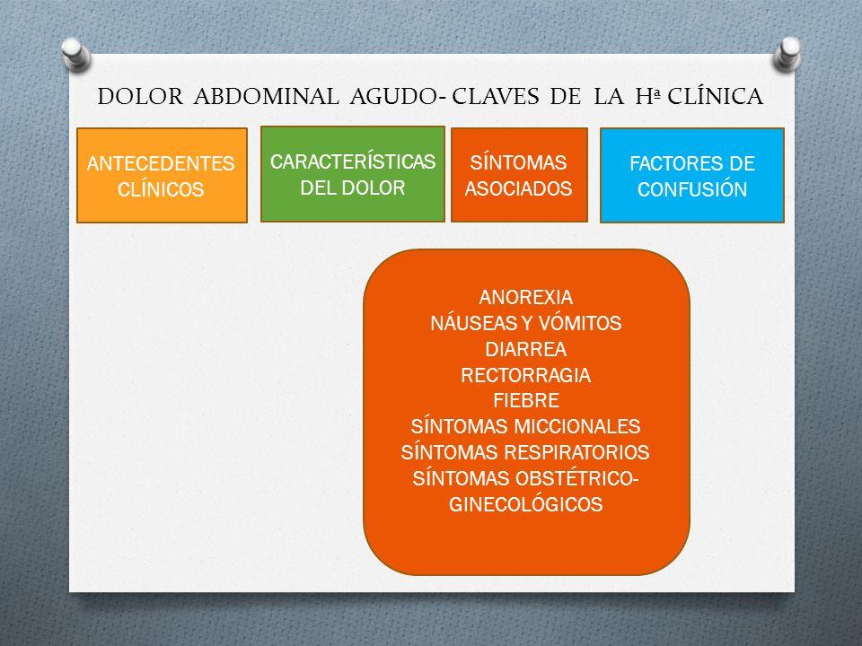 DOLOR ABDOMINAL AGUDO- CLAVES DE LA Hª CLÍNICA ANTECEDENTES CLÍNICOS CARACTERÍSTICAS DEL DOLOR SÍNTOMAS ASOCIADOS FACTORES DE CONFUSIÓN ANOREXIA NÁUSE