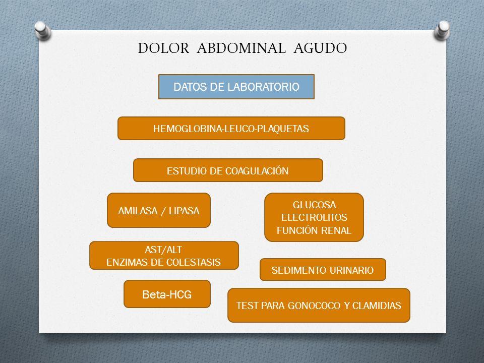 DOLOR ABDOMINAL AGUDO DATOS DE LABORATORIO HEMOGLOBINA-LEUCO-PLAQUETAS ESTUDIO DE COAGULACIÓN AMILASA / LIPASA GLUCOSA ELECTROLITOS FUNCIÓN RENAL SEDI