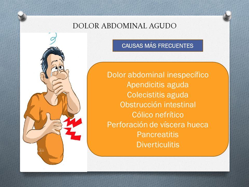 DOLOR ABDOMINAL AGUDO CAUSAS MÁS FRECUENTES Dolor abdominal inespecífico Apendicitis aguda Colecistitis aguda Obstrucción intestinal Cólico nefrítico