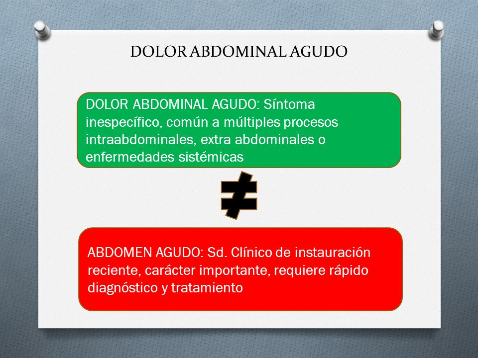 DOLOR ABDOMINAL AGUDO DOLOR ABDOMINAL AGUDO: Síntoma inespecífico, común a múltiples procesos intraabdominales, extra abdominales o enfermedades sisté
