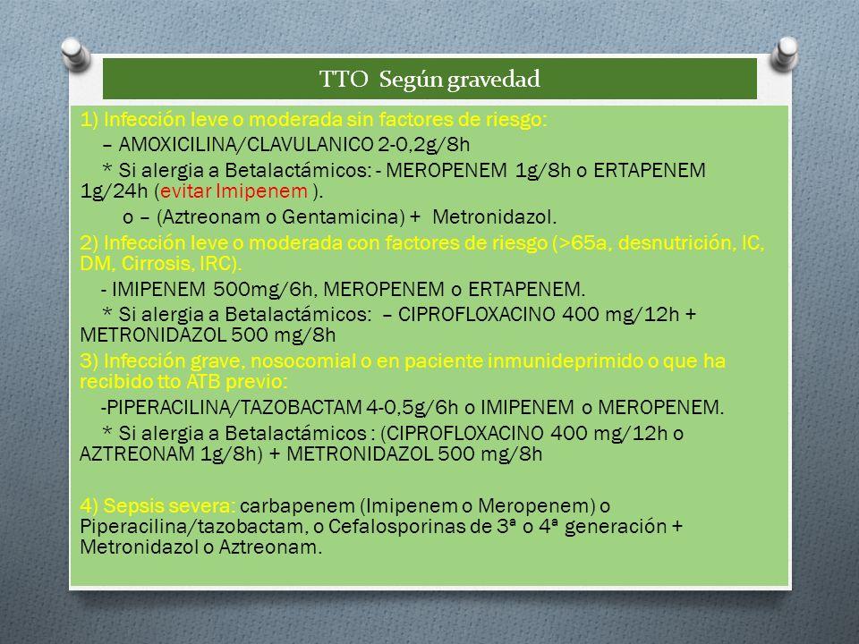 TTO Según gravedad 1) Infección leve o moderada sin factores de riesgo: – AMOXICILINA/CLAVULANICO 2-0,2g/8h * Si alergia a Betalactámicos: - MEROPENEM