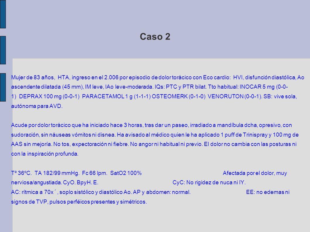 Caso 2 AS: CPK 78 / MB 2,6 / Troponina 0,01, Hb 12,7 / Plaq 245.000 / Leucos 14.000 (Nf 87%), INR 0,91 / Dimero D 875 ECGs seriados: RS a 70 lpm sin alteraciones de la repolarización.