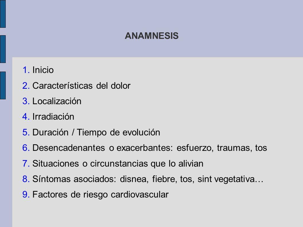 ANAMNESIS 1. Inicio 2. Características del dolor 3. Localización 4. Irradiación 5. Duración / Tiempo de evolución 6. Desencadenantes o exacerbantes: e