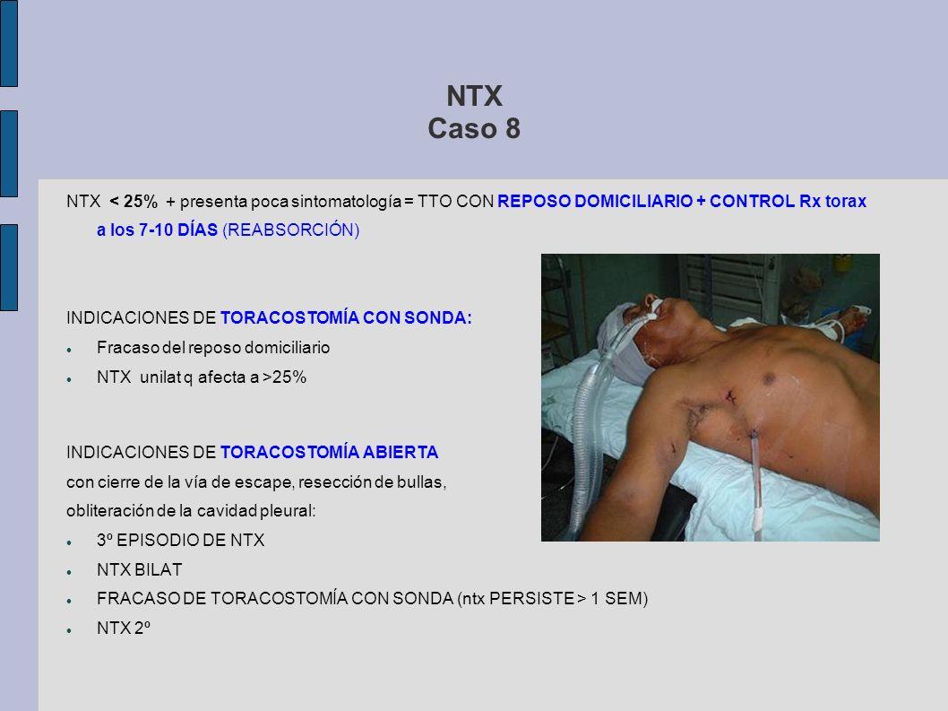 NTX Caso 8 NTX < 25% + presenta poca sintomatología = TTO CON REPOSO DOMICILIARIO + CONTROL Rx torax a los 7-10 DÍAS (REABSORCIÓN) INDICACIONES DE TOR