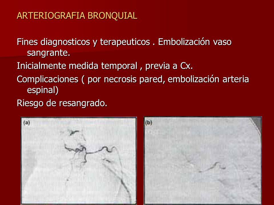 ARTERIOGRAFIA BRONQUIAL Fines diagnosticos y terapeuticos. Embolización vaso sangrante. Inicialmente medida temporal, previa a Cx. Complicaciones ( po