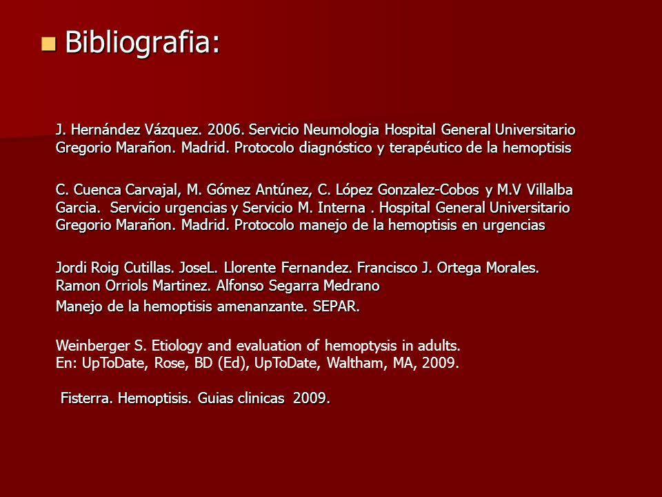 Bibliografia: Bibliografia: J. Hernández Vázquez. 2006. Servicio Neumologia Hospital General Universitario Gregorio Marañon. Madrid. Protocolo diagnós