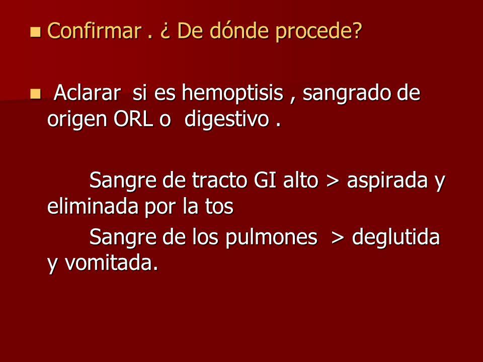 Confirmar. ¿ De dónde procede? Confirmar. ¿ De dónde procede? Aclarar si es hemoptisis, sangrado de origen ORL o digestivo. Aclarar si es hemoptisis,