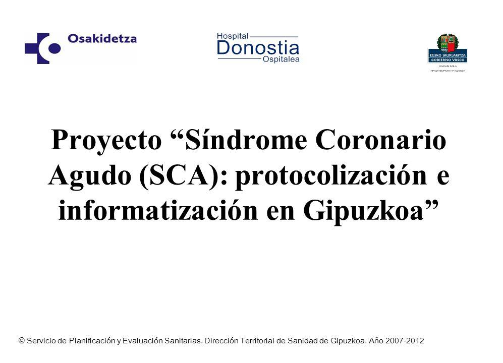 Proyecto Síndrome Coronario Agudo (SCA): protocolización e informatización en Gipuzkoa © Servicio de Planificación y Evaluación Sanitarias. Dirección