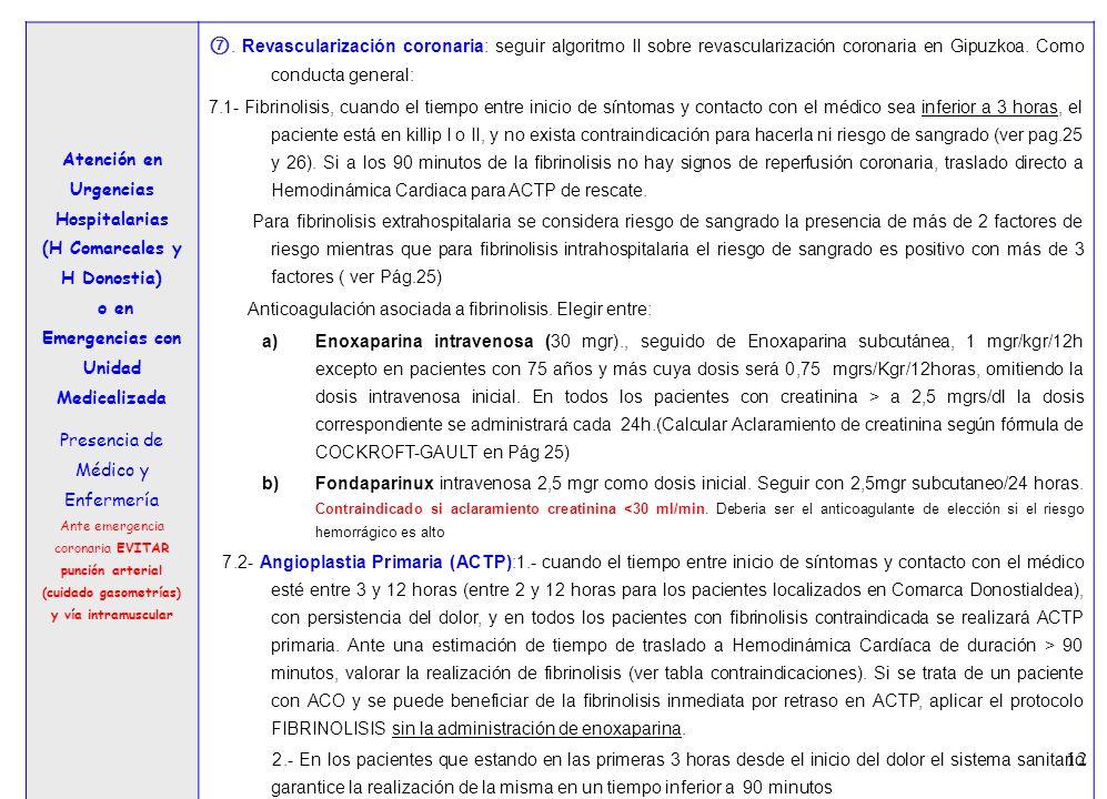 12 3 Atención en Urgencias Hospitalarias (H Comarcales y H Donostia) o en Emergencias con Unidad Medicalizada Presencia de Médico y Enfermería Ante em