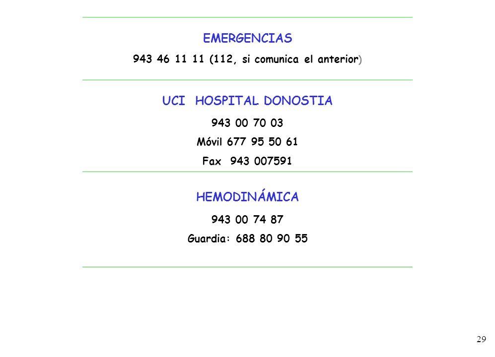 29 3 EMERGENCIAS 943 46 11 11 (112, si comunica el anterior ) UCI HOSPITAL DONOSTIA 943 00 70 03 Móvil 677 95 50 61 Fax 943 007591 HEMODINÁMICA 943 00