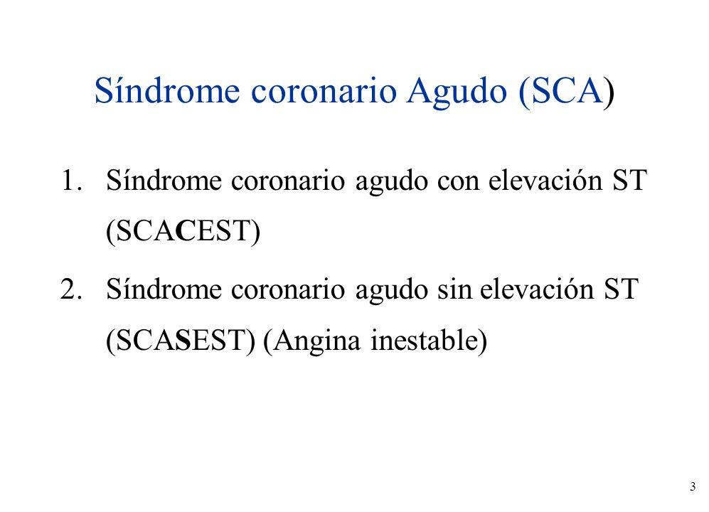 3 Síndrome coronario Agudo (SCA) 1.Síndrome coronario agudo con elevación ST (SCACEST) 2.Síndrome coronario agudo sin elevación ST (SCASEST) (Angina i