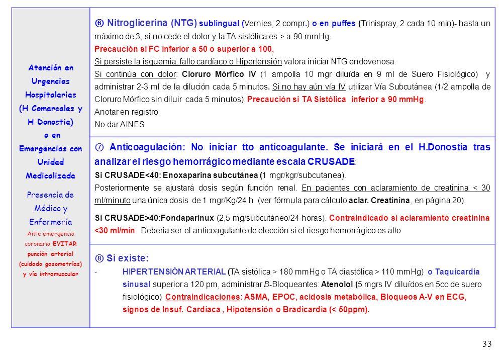 33 3 Atención en Urgencias Hospitalarias (H Comarcales y H Donostia) o en Emergencias con Unidad Medicalizada Presencia de Médico y Enfermería Ante em