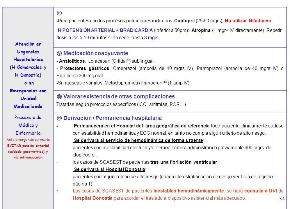 34 3 Atención en Urgencias Hospitalarias (H Comarcales y H Donostia) o en Emergencias con Unidad Medicalizada Presencia de Médico y Enfermería Ante em