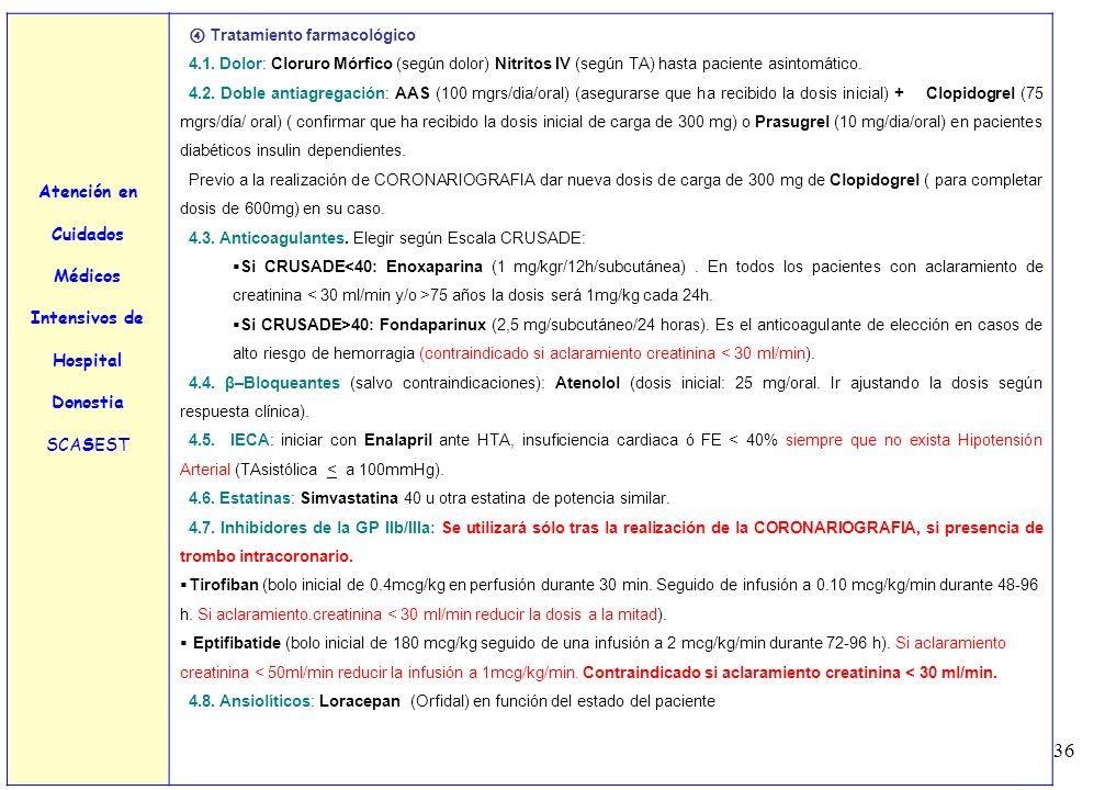 36 Atención en Cuidados Médicos Intensivos de Hospital Donostia SCASEST Tratamiento farmacológico 4.1. Dolor: Cloruro Mórfico (según dolor) Nitritos I