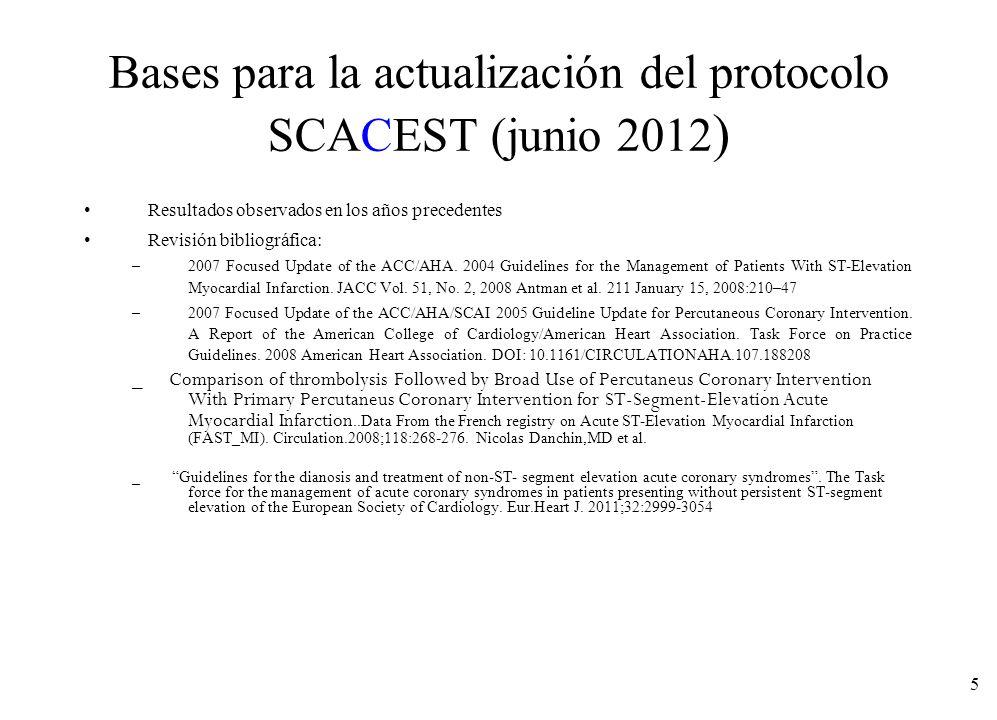 5 Bases para la actualización del protocolo SCACEST (junio 2012 ) Resultados observados en los años precedentes Revisión bibliográfica: –2007 Focused