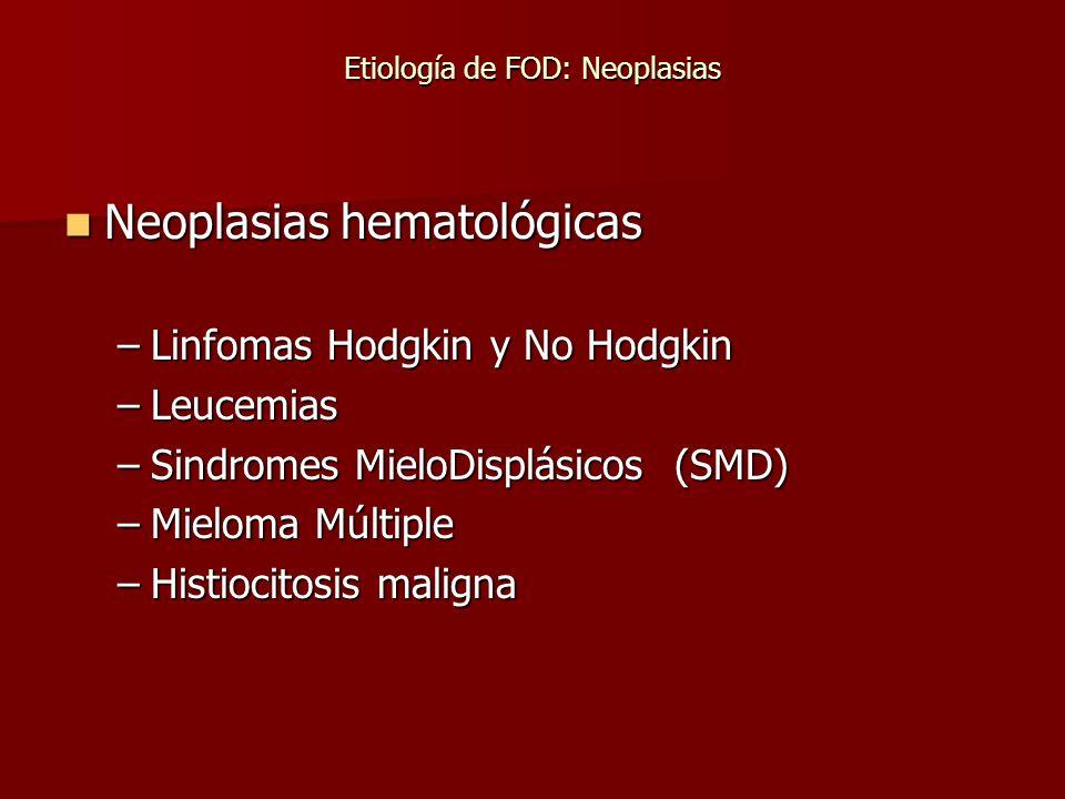 Etiología de FOD: Neoplasias Neoplasias hematológicas Neoplasias hematológicas –Linfomas Hodgkin y No Hodgkin –Leucemias –Sindromes MieloDisplásicos (