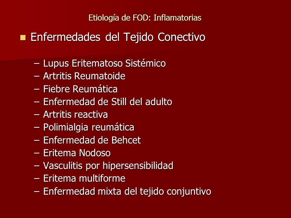 Etiología de FOD: Inflamatorias Etiología de FOD: Inflamatorias Enfermedades del Tejido Conectivo Enfermedades del Tejido Conectivo –Lupus Eritematoso