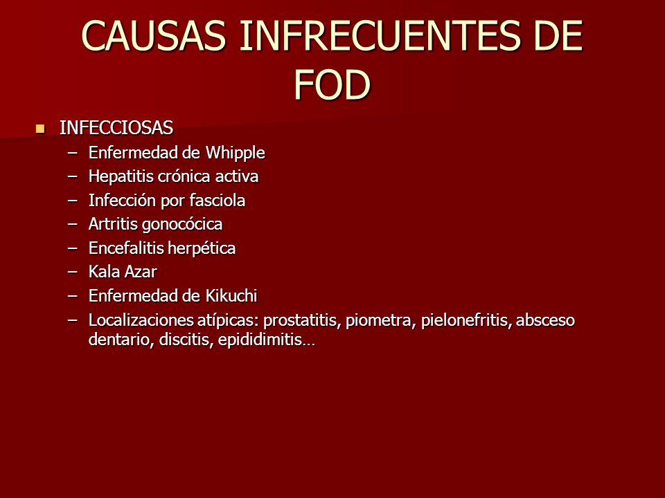 CAUSAS INFRECUENTES DE FOD INFECCIOSAS INFECCIOSAS –Enfermedad de Whipple –Hepatitis crónica activa –Infección por fasciola –Artritis gonocócica –Ence