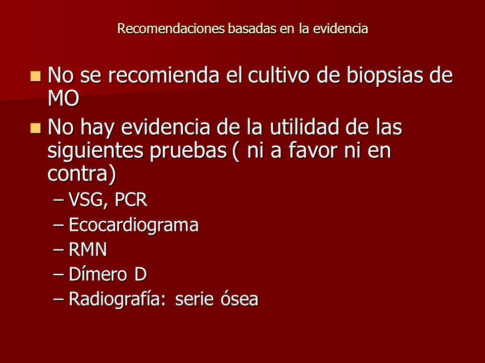 Recomendaciones basadas en la evidencia No se recomienda el cultivo de biopsias de MO No se recomienda el cultivo de biopsias de MO No hay evidencia d