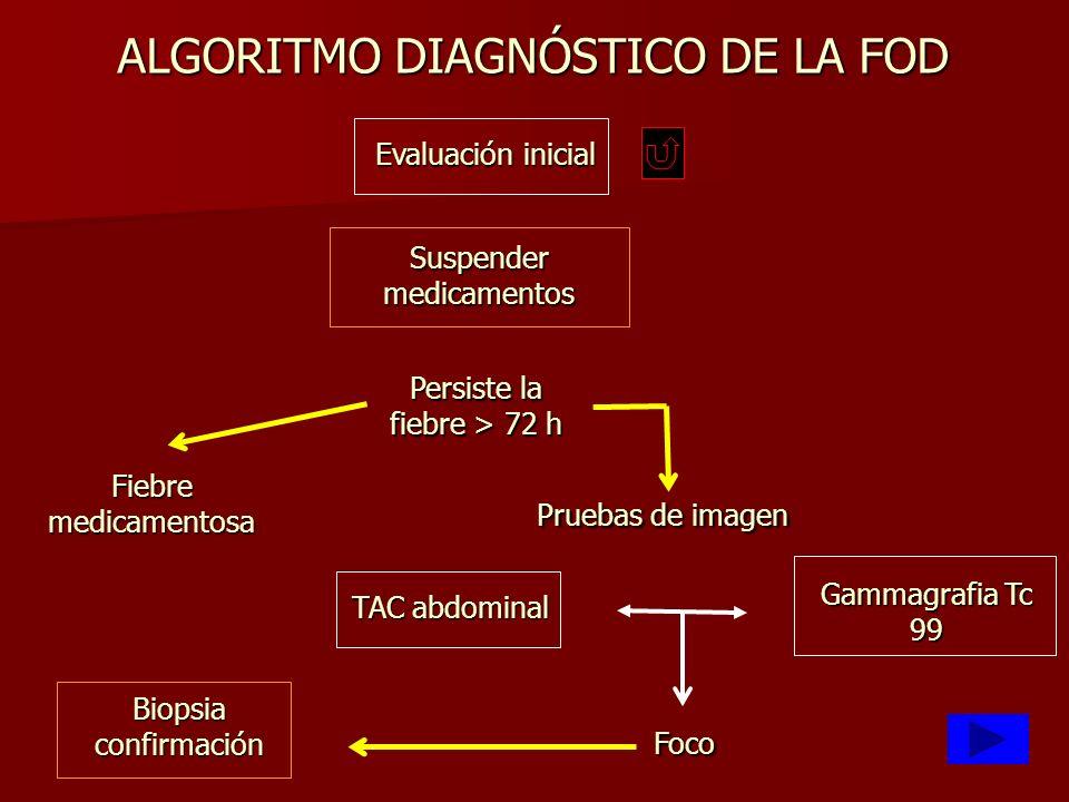 Fiebre medicamentosa Persiste la fiebre > 72 h Pruebas de imagen Foco Evaluación inicial Suspender medicamentos TAC abdominal Gammagrafia Tc 99 Biopsi