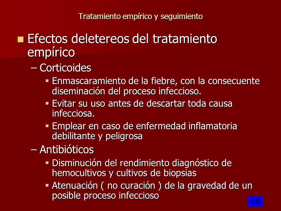 Tratamiento empírico y seguimiento Efectos deletereos del tratamiento empírico Efectos deletereos del tratamiento empírico –Corticoides Enmascaramient
