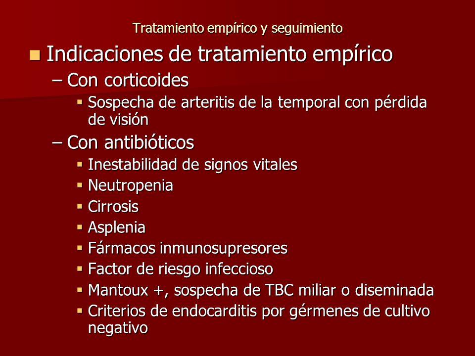 Tratamiento empírico y seguimiento Indicaciones de tratamiento empírico Indicaciones de tratamiento empírico –Con corticoides Sospecha de arteritis de