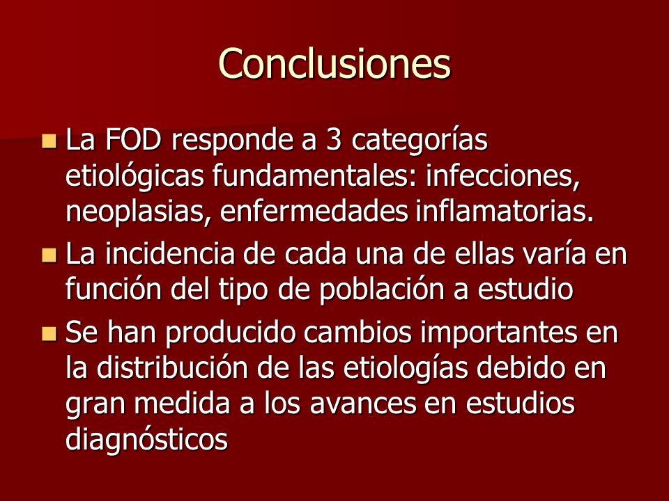 Conclusiones La FOD responde a 3 categorías etiológicas fundamentales: infecciones, neoplasias, enfermedades inflamatorias. La FOD responde a 3 catego