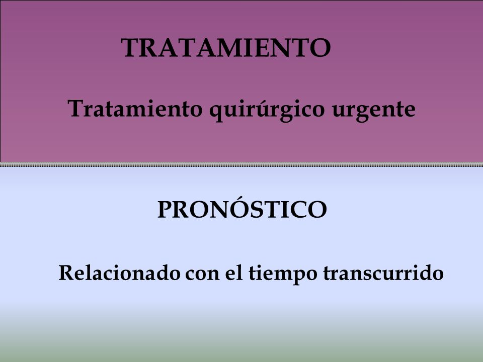 PRONÓSTICO Relacionado con el tiempo transcurrido TRATAMIENTO Tratamiento quirúrgico urgente